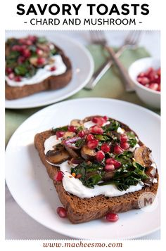 Savory Mushrooms on Toast: Sauteed mushrooms and Swiss chard served ...