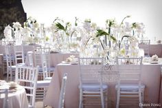 White taupe and ivory wedding ~ White calla lilies, phalaenopsis orchids and peonies