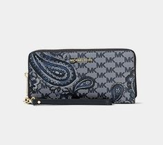 """MICHAEL Michael Kors KORS STUDIO Paisley Jet Set Travel Continental Wallet Navy  BUY NOW     $99.99    A mix of refined """"MK"""" monogram print and folksy paisley teardrop scrolls cover this wristlet wallet from MICHAEL Michael Kors. ..  http://www.welovefashion.top/2017/03/19/michael-michael-kors-kors-studio-paisley-jet-set-travel-continental-wallet-navy/"""
