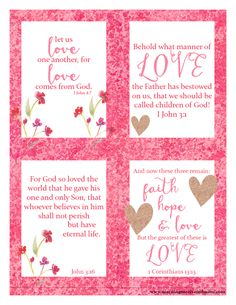 Valentines Day Quotes : Free Bible Passage Scripture Love Printables - Quotes Sayings Valentines Day Sayings, Valentine Verses, Valentine Day Crafts, Valentine Decorations, Love Valentines, Valentine Ideas, Free Printable Valentines, Valentines Games, Church Decorations
