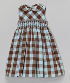 Plaid Smocked A-Line Dress