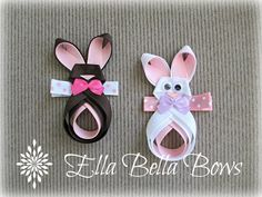 Bunny Ribbon Sculpture Hair Clip by EllaBellaBowsWI on Etsy, $7.00 each