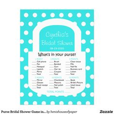 Purse Bridal Shower Game in Turquoise