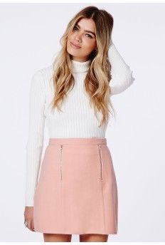 Beth Felt Zip Front A-Line Skirt Baby Pink $37.98