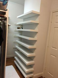 Shoe shelves in closet