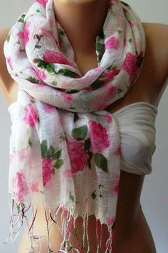 Pink  Flowers  Elegance Shawl / Scarf by womann on Etsy,
