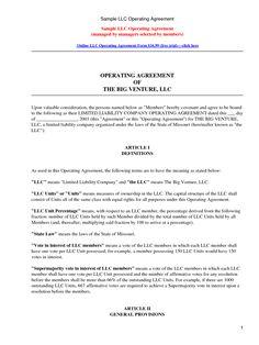 basic LLC operating agreement by jmcinerny - llc partnership ...