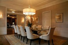 Luxurious and Elegant Dining Room with Large Glass Dining Room Table - Discover home design ideas, furniture, browse photos and plan projects at HG Design Ideas - connecting homeowners with the latest trends in home design & remodeling Elegant Dining Room, Dining Room Design, Rustic Lighting, Elegant Dining, Large Dining Room, Drum Shade Chandelier, Dining Room Chandelier, Chandelier Shades, Dining Room Wallpaper