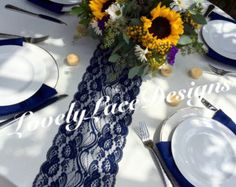 NAVY BLUE Lace/Table Runner/3ft 10ft long x by LovelyLaceDesigns