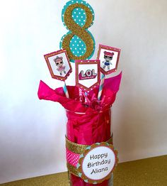 L.O.L. Surprise Doll Birthday Party - Centerpiece. Party Decor. Birthday Party Centerpieces, Birthday Party Themes, Swim Team Party, 8th Birthday, Happy Birthday, Doll Party, Candy Table, Lol Dolls, Pink Polka Dots