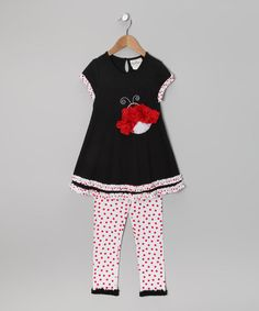 Take a look at this Black & White Polka Dot Ladybug Tunic & Leggings - Infant & Girls by Rare Editions on #zulily today!