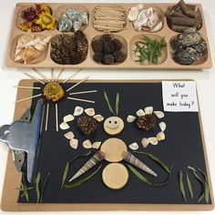 Loose parts exploration with naturally found materials. What will you make today? Forest School Activities, Nature Activities, Montessori Activities, Preschool Learning, Preschool Art, Early Learning, Learning Activities, Preschool Activities, Nature Based Preschool