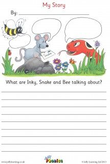 Inky Bee and Snake Story Sheet – Food: Veggie tables Consonant Blends Worksheets, Phonics Worksheets, Jolly Phonics Activities, Writing Activities, Picture Story Writing, Snake Story, Phonics Programs, Picture Composition, English Writing Skills