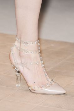 Valentino Spring 2013; Flats version. LOVE the clear look, looks like a princesses shoe!