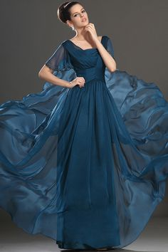 Short Sleeve A Line Floor Length Mother Of The Bride Dresses Ruffled Bodice New Arrival