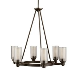 This 6-light chandelier from the Circolo collection features an olde bronze finish that will complement many contemporary decors. The etched glass diffusers are encased in clear glass cylinders and wi