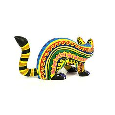 YELLOW-CAT-Oaxacan-Alebrije-Wood-Carving-Handcrafted-Mexican-Folk-Art-Sculpture
