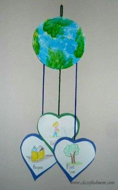 Preschool Crafts for Kids*: Earth Day Mobile Craft Earth Day Projects, Earth Day Crafts, Projects For Kids, Art Projects, Earth Craft, Planet Crafts, Earth Day Activities, Spring Activities, Holiday Activities