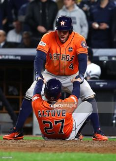 George Springer, Jose Altuve, HOU // GAME 4 ALCS Oct 17, 2017 at NYY Astros Team, Houston Astros, Texans, Baseball Wallpaper, Baseball Playoffs, George Springer, Military First, Mlb Postseason, Art