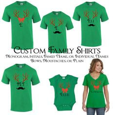 matching family christmas t shirts christmas pajamas with reindeer antlers bows and moustache custom monogram