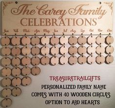 Personalized - Custom Family Celebration Board Family Birthday Board Family Calendar Birthday Reminder Birthday Boards Birthday Calendar Kit by TanariaCarey on Etsy https://www.etsy.com/listing/266071721/personalized-custom-family-celebration