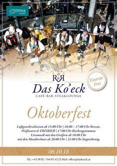 Termintipp: Oktoberfest im Ko'eck 2018 Kos, Movie Posters, Oktoberfest, Tips, Film Poster, Aries, Billboard, Film Posters, Blackbird