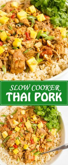 Slow cooker Thai pork is a quick and easy dinner to prep and comes out with tender chunks of pork and a rich, delicious peanut sauce! Best Slow Cooker, Crock Pot Slow Cooker, Crock Pot Cooking, Slow Cooker Recipes, Crockpot Recipes, Cooking Recipes, Healthy Recipes, Healthy Dinners, Easy Meals