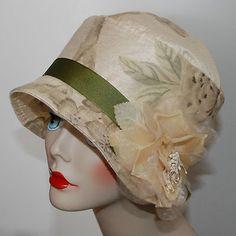 New Women's Ivory Print Silk Cloche Flapper Hat One of A Kind | eBay