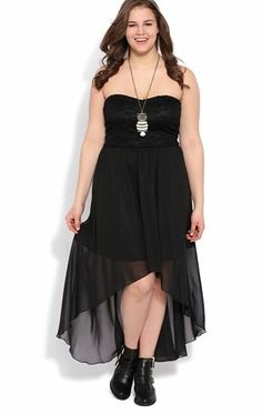 Deb Shops Plus Size Strapless High Low Dress with Lace Bodice $40.00