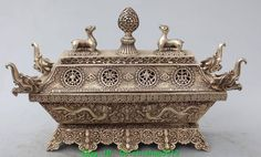 "11""Tibet Silver Buddhism Auspicious Symbols 2 Dragon Sheep Incense Burner Censer"
