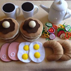 Felt food Pretend play food Breakfast set by TomomoHandmade, $78.00