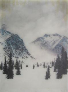 Brooks Salzwedel, Two Mtns, 2014, graphite, color pencil, tape, mylar, resin on panel, 24 x 18 inchesPortfolio - Brooks Shane Salzwedel
