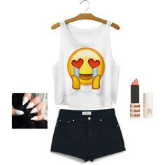 A fashion look from June 2015 featuring white top, high-waisted denim shorts and moisturizing lipstick. Browse and shop related looks. White Tops, Polyvore Fashion, Mango, Denim Shorts, Topshop, Fashion Looks, T Shirt, Shopping, Women