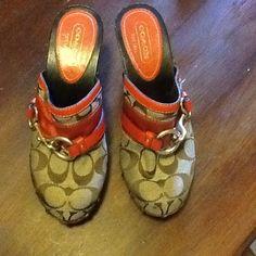"Coach signature Jacquard mules "" Sutton"" Beautiful, like new condition Coach Shoes Mules & Clogs"