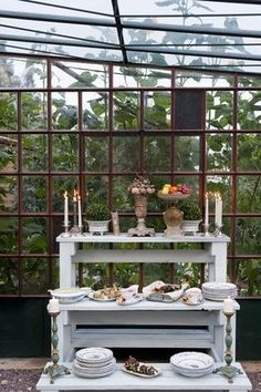sunrooms and conservatories | beautifully set for an afternoon garden buffet... Italy