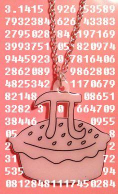 Pi Day - Pi Pie Necklace - geek chic - geekery - maths £10