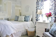 Get the Look:  Blue and White Guest Bedroom  www.thistlewoodfarms.com