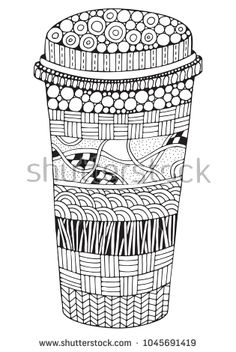 Fast food drink. Coloring book page for adult and children. Black and white vector doodle fast food pattern.