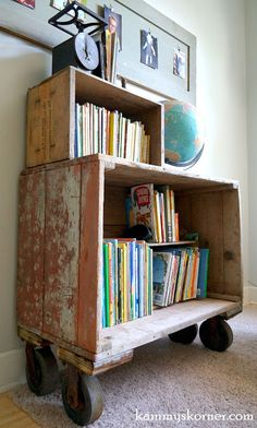 Kammy's Korner: The Cob Box Book Case {Revamped Family Heirloom}  Wood crate book shelves with caster wheels