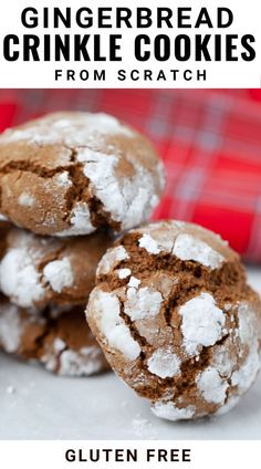 This easy recipe for gluten free gingerbread crinkle cookies is made from scratch with a gluten free flour. They are chewy, dense and pillowy and are the perfect dessert to bring to any Christmas or holiday party.