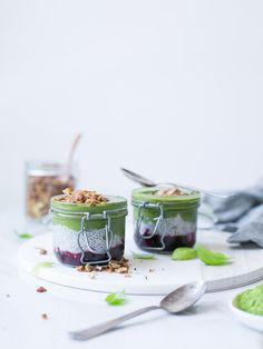 Matcha Basil Chia Parfait With Blackberry Mash - The Healthy Hour