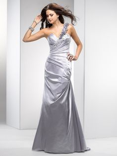 Fit & Flare One Shoulder Rosette Strap Beaded Accent Ruched Bodice Satin Prom Dress-sop0041, $230.95