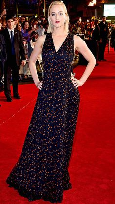 Jennifer Lawrence in a chain-adorned Dior dress at the London premiere of the Hunger Games