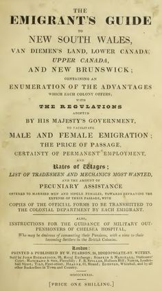 The Emigrant's Guide to New South Wales and Van Diemen's Land 1832 - Part I - Introduction