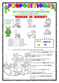 This is a one page worksheet about prepositions. Repinned by SOS Inc. Resources. Follow all our boards at http://pinterest.com/sostherapy for therapy resources