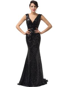 GRACE KARIN® Sequined Sparkle Evening Prom Dress Full Length CL6052  (Multi-Colored)  e09b5627b