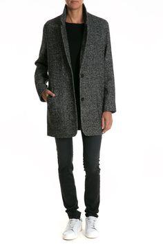 manteau herrigbone levi's gris noir - pret a porter veste et manteau femme