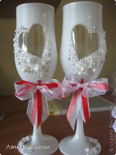 Декор предметов Свадьба Свадебное Бисер Бусины Кружево Ленты фото 14