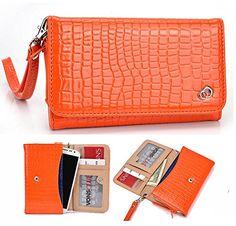 NuVur ™ Crocodile Embossed Faux Leather ::Smartphone:: Universal Wallet Clutch Fits ZTE N9810 Supreme, N9810 Vital, Nubia Z7 mini, Nubia Z9 mini, Star 2, U9810, V987|Orange