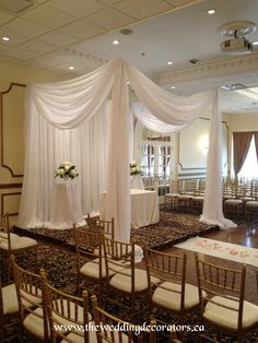 Ceremony draping, canopy, chuppah. small drapery setting for wedding